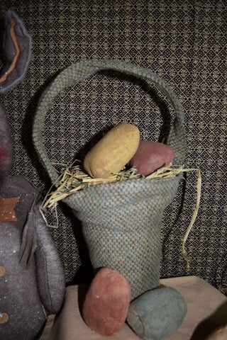 Burlap Basket W/ Wire Handle and 2 Eggs