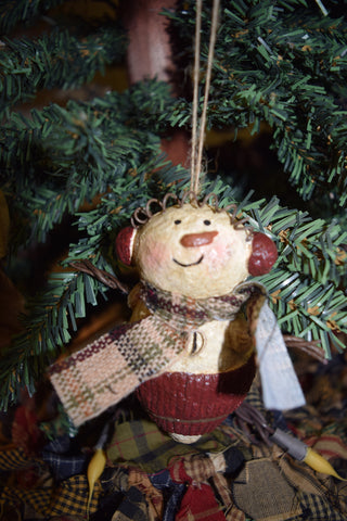 Snowman/Burgundy Hat Ornament