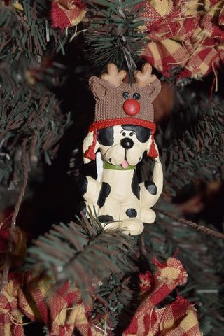 Dog Ornament w/ Reindeer Hat