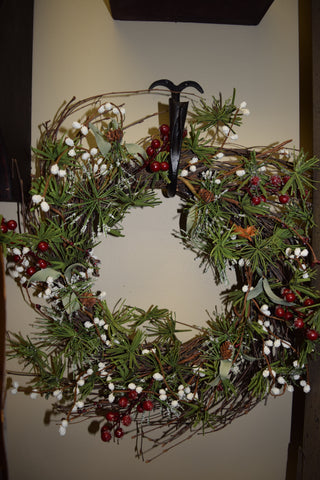 "12"" Winter Wreath W/ Red Berries, Snowberries and Pinecones"