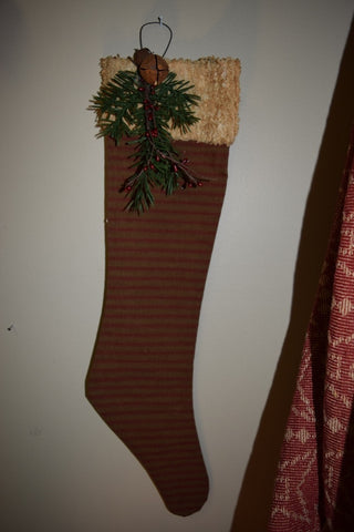 Hanging Stocking w/ Burgundy & Tan Stripe