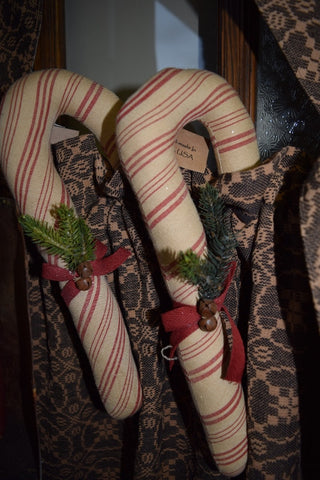 Small Fabric Candy Cane w/ Greens