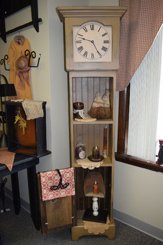 Grandfather Clock W/ Shelves Mustard