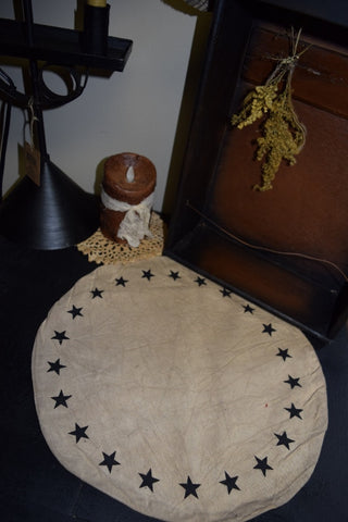 "9"" Round Table Mat W/ Black Stars"