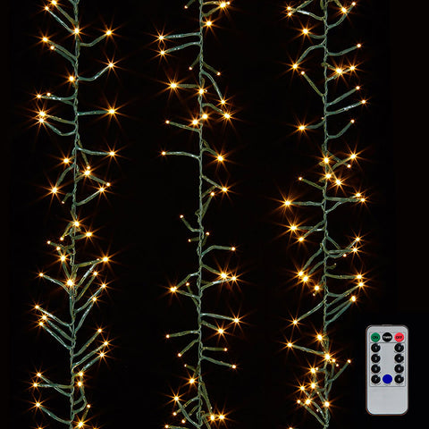 10' Cluster Garland 300 White Light