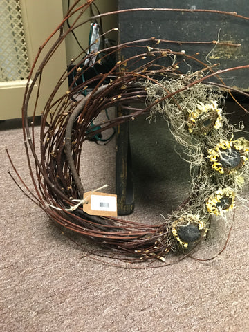 12 in Twig Wreath w/ 4 Sunflowers