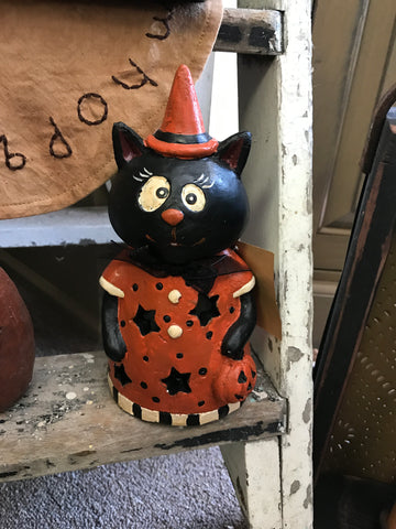 "7"" Paper Pulp Halloween Kitty W/ LED Light"
