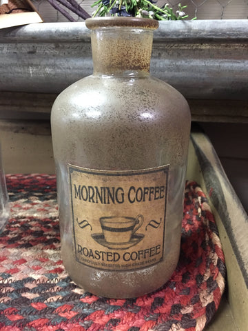 Antique Bottle W/ Coffee Label - Medium Size
