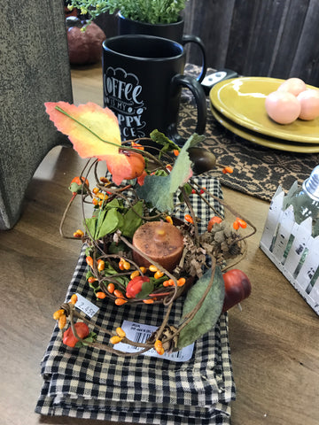 Jar Lid Hanger w/ Tealight Flameless Candle w/ Pip Berries and Pumkins