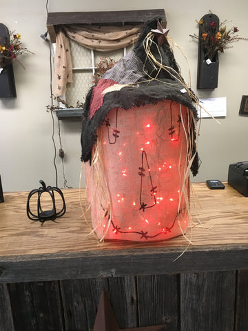 Large Burlap Scarecrow with string lights