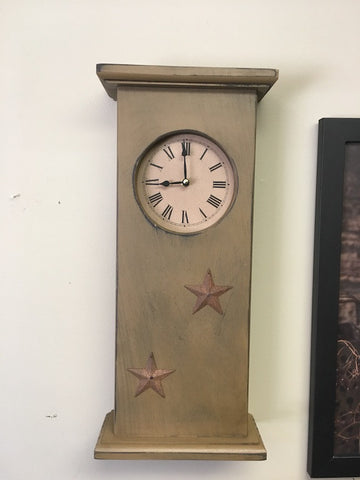 Tall Mantle Clock W/ Rusty Tin Stars