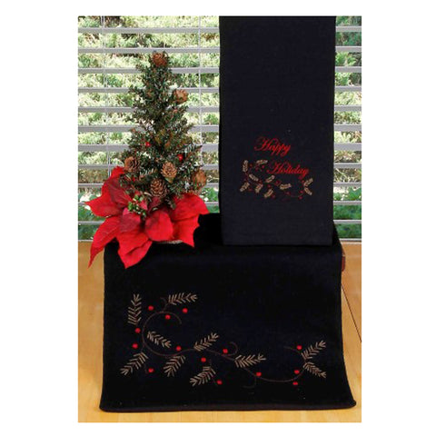 Happy Holiday Table Runner Black