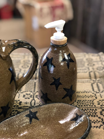 Pottery Soap Pump Bottle W/ Stars