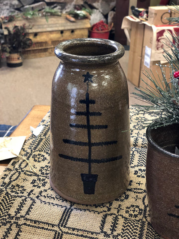 Pottery Large Canning Crock W/ Christmas Tree