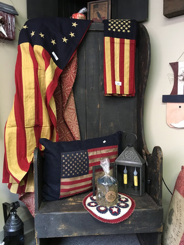 "Large Betsy Ross Cotton, Tea Stained Flag 32"" x 58"""