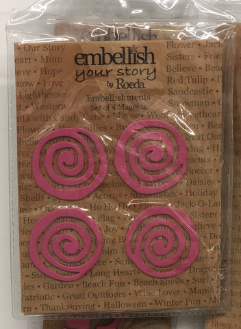 Embellish Your Story by Roeda Pink Swirl Magnets