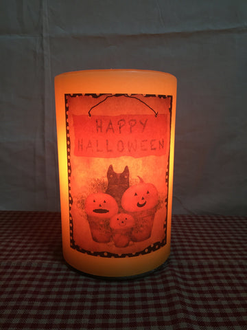 "6"" Candle Sleeve  - Cat and Pumpkin"