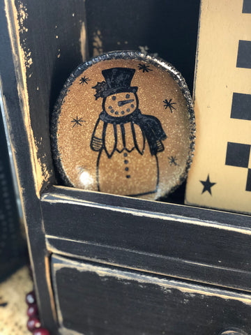 Oval Pottery Plate w/ Snowman