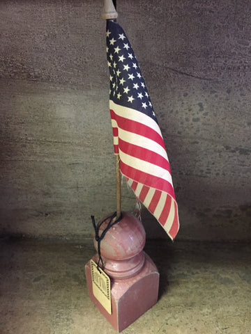 American Flag On Burgundy Spindle