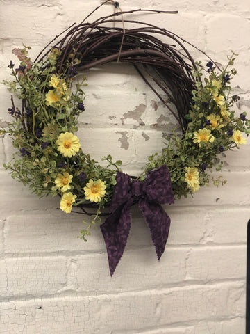 "12"" Grapevine Twig Wreath With Purple and Yellow Flowers"
