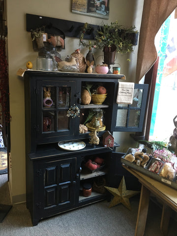 Black Hutch w/ glass doors