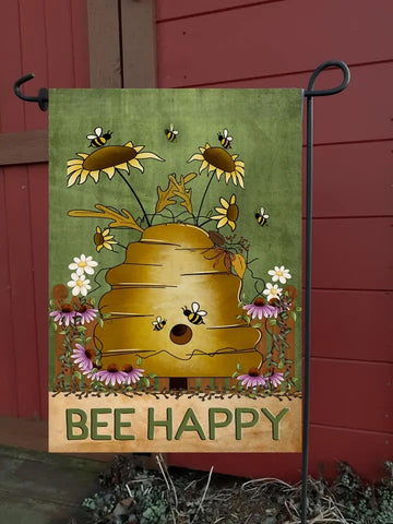 Bee Happy Bee Hive Garden Flag