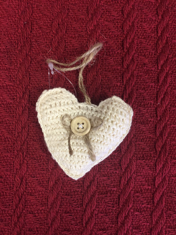 Heart Crocheted Ornament - Cream