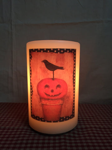 "6"" Candle Sleeve - Crow and Pumpkin"