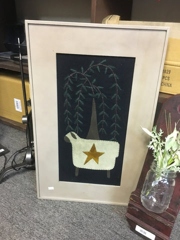 Framed Wool Applique Willow Tree and Sheep