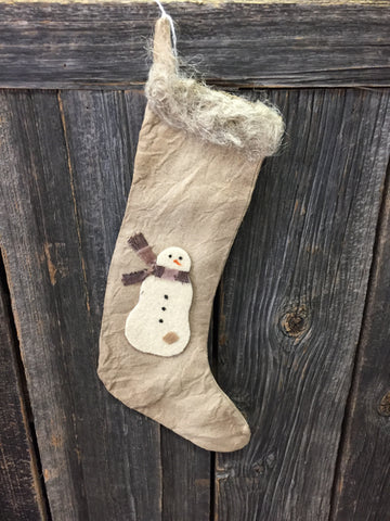 Tan Linen Stocking w/ Felt Snowman