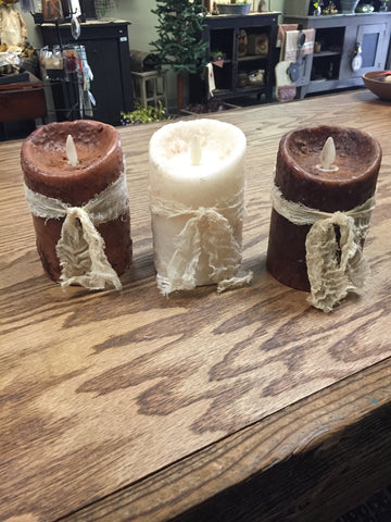 Luminara Dipped Flameless Candle 3x4.5 w/ Cheesecloth