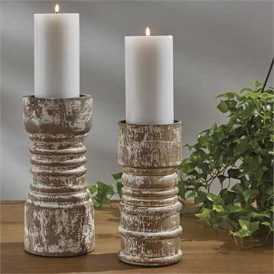 Rustic Candlestick Tall Cream