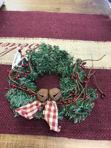 Pine Wreath w/Red Berries and Bells