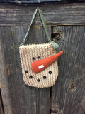 Snowman Face Bag/Green Gingham Handle