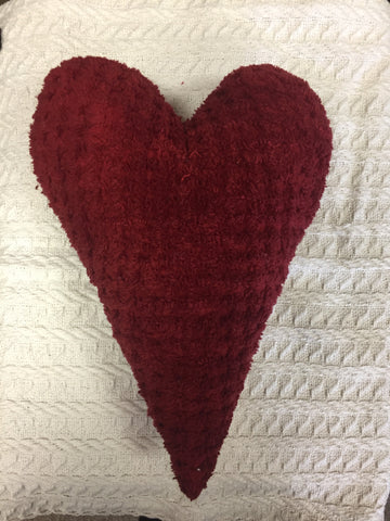 Chenille Heart Large - Red
