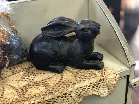 Extra Large Blackened Beeswax Rabbit Dark