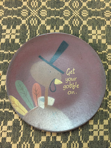 6 in Get Your Gobble On Wood Plate