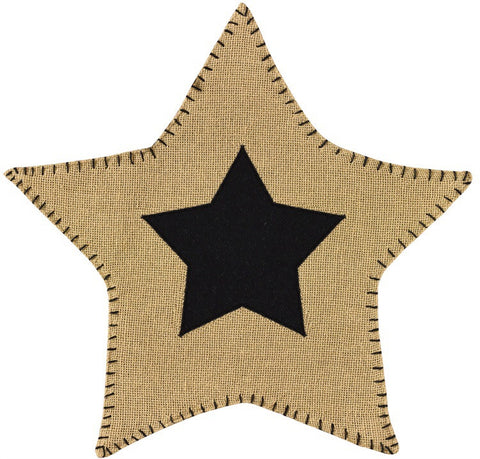 Burlap Star Accent Mat Black