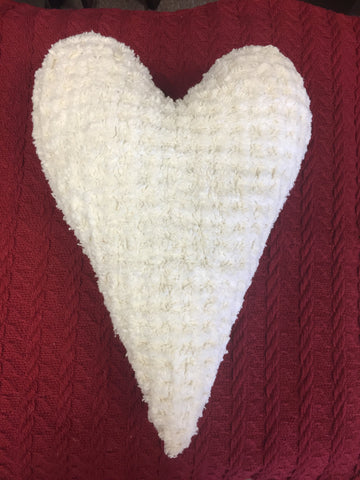 Chenille Heart Large - Cream