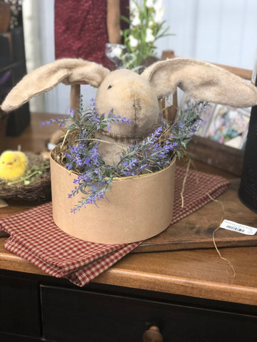 Felt Bunny in Hat Box with Grass and Flowers