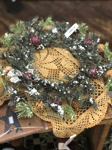 "7"" Candle Ring w/ Pinecones, Bells and Snow"