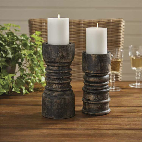 Rustic Candlestick Tall Black