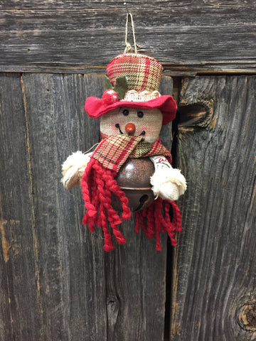 Snowman on Bell Ornament