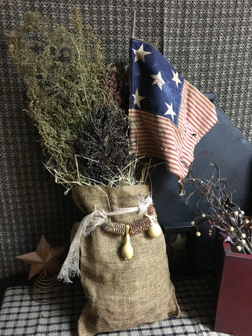Burlap Bag w/ Flag and Sweet Annie