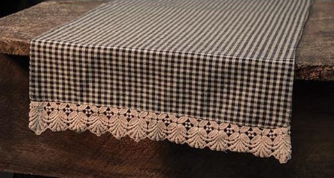 Ava Black Gingham Table Runner 13x36