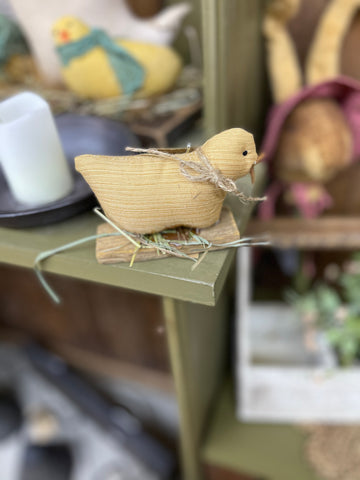 Fabric Chick on Wooden Lath