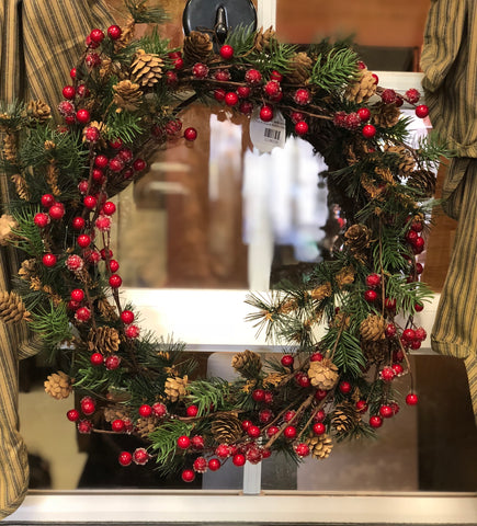 "12"" Wreath W/ Pine, Berries and Pine Cones"