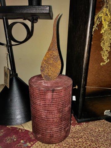 Barn Wood Candle W/ Rusty Flame