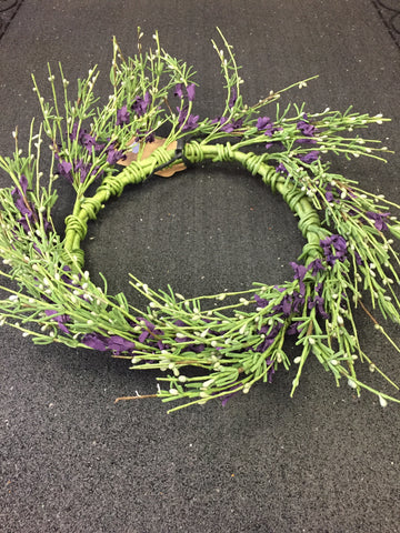 "7 "" Candle Ring w/ Purple Flowers"