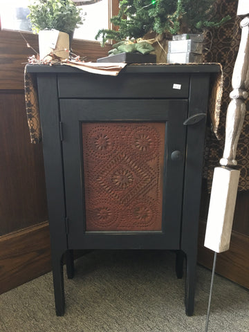 "19 1/2"" Side Table W/ Tin Panel"